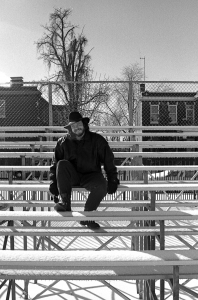 Me On Snowy Bleachers, b&w, January 1991