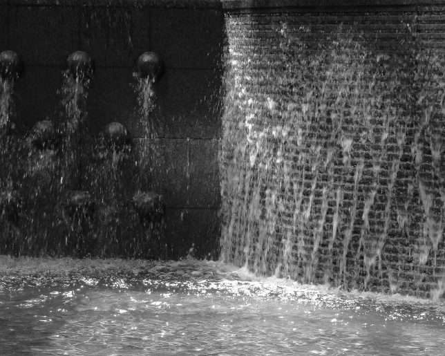 Water Over Scultped Wall, b&w, July 2016